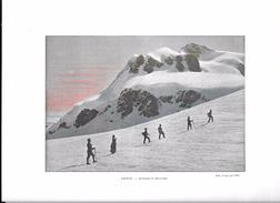 Photogravure Colorisée De Suisse Valais Avant 1900: Ascension Du Breithorn - Luminaires