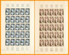 France**LUXE 1950 FEUILLE Entière De 25 Timbres P 876 Et 877 Paire, Vf 8 F +2 F. Portrait De L'architecte Alexandre Théo - Feuilles Complètes