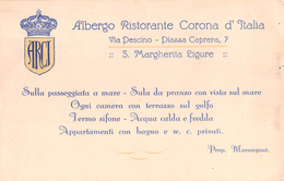 "05687 ""ALBERGO RISTORANTE CORONA D'ITALIA - S. MARGHERITA LIGURE (GE) - PROPR. MARANGONI - TARIFFE"" CARTONC. ORIG. - Advertising"