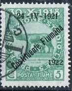 """PIA - FIUME  - 1922 :Francobolli Pro Fondazione Studio Soprastampati """"24-4-1921 Costituente Fiumana """"  - (SAS 164) - Occupation 1ère Guerre Mondiale"""