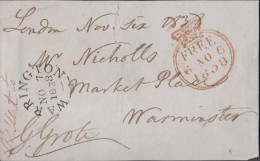 """1838 'front' To """"Mr Nicholls, Market Place"""" From """"George Grote (London MP) With M/s 'missent To' 'WARRINGTON'  Cds. 0286 - Autographs"""