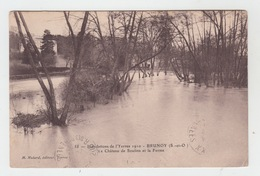 91 - BRUNOY - INONDATIONS DE L'YERRES 1910 / LE CHATEAU DE SOULINS ET LA FERME - Brunoy