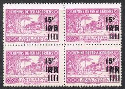 """ALGERIE COLIS POSTAL N°198 N**  En Bloc De 4, Variété Sans Surcharge """"contrôle Des Recettes"""" - Algérie (1924-1962)"""