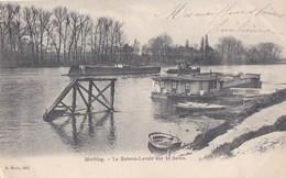95 HERBLAY  Les Bords De SEINE  Vue Sur Le BATEAU LAVOIR  Passage D' Une PENICHE Timbre 1905 - Herblay