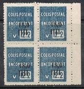 """ALGERIE COLIS POSTAL N°150 N**  En Bloc De 4, Variété Sans Surcharge """"contrôle Des Recettes"""" - Algérie (1924-1962)"""