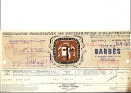 Ref 28/ 75, Paris 18ème, Compagnie Parisienne De Distribution D'Electricité, 1939, Pour Rue Doudeauville Paris - France