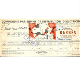 Ref 28/ 75, Paris 18ème, Compagnie Parisienne De Distribution D'Electricité, 1940, Pour Rue Doudeauville Paris - France