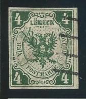 ALLEMAGNE: LUBECK, Obl., N°5 (réf: Yvert Et Tellier), Fausse Oblit., Léger Pelurage Recto, B Aspect