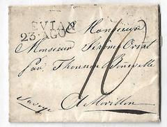 Lettre Evian Morion Morillon Par Thonnon Et Boneville Taxe Manuscrite 10 Transit Evian Savoie 73 France Sardaigne - 1801-1848: Voorlopers XIX
