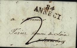 84 ANNECI Dép Mont Blanc Savoie 73 Gex Annecy Mathieu N1 P214 Indice 5 Cote 20 Euros Taxe Manuscrite 2 - Postmark Collection (Covers)