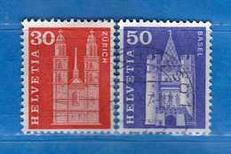 Svizzera ° - 1963-68 - Edifici Storici. Cat. Zum. 360L-363L/ Mich. 701-704Y,   Vedi Descrizione. - Usati