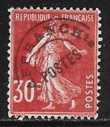 N° 61   FRANCE  -  PREOBLITERE  TYPE SEMEUSE Rouge Sombre  -  OBLITERE -   1922/1947 - Préoblitérés
