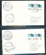 Ross Dependency Skua Scott Base Officer In Charge Signed Antarctic Research Programme  2 Covers Cancel Cachets 1976 A04s - Ross Dependency (New Zealand)