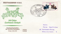 FDC  844  5oo Jahre Landshuter Fürstenhochzeit - Ritter Beim Stechturnier, Bonn 1 - [7] Federal Republic