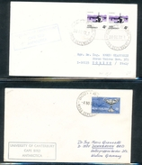 Ross Dependency Scott Base University Of Canterbury Cape Bird 2 Covers Cancel Cachets 1972-1974 A04s - Ross Dependency (New Zealand)