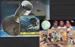 Mond-Fähre Ajman Block 319+Manama Bl.218 O 11€ Astronaut Grissom Apollo 15 Hojas Blocs NASA S/s Space Sheets Bf VAE - Computers