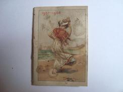 Calendrier 1907 - 1908 PHARMACIE J.RABIN & ROUGEDEMONTANT 24 PLACE DU MARCHE ARPAJON - Calendarios
