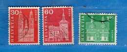 Svizzera ° - 1960-68 - Edifici Storici. Cat. Zum.360-364-371/ Mich. 701-705-712   Vedi Descrizione. - Usati
