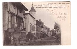 33 Sainte Foy La Grande Maison Martin En Bois Sculpté Et Rue Langalerie Cpa Animée Cachet Ste Foy 1903 - France