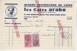 Au Plus Rapide Timbre Fiscal Sur Facture Café Cafés Arabo Nice 24 Mars 1939 - Fiscaux
