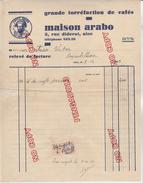 Au Plus Rapide Timbre Fiscal Sur Facture Café Cafés Arabo Nice 8 Décembre 1933 - Fiscaux