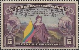 ECUADOR 1938 150th Anniv Of U.S. Constitution - 5c Liberty,Flag & Eagle MH - Ecuador