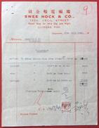 SINGAPORE  1949 SWEE HOCK & CO. RECEIVED PAYMENT FATTURA PIROSCAFO POLIFEMO CON REVENUE CON MARCA DA BOLLO  MALAYA 4 C. - Fatture & Documenti Commerciali