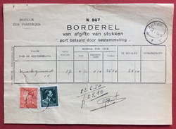 BELGIO ANTWERPEN  1950  RICEVUTA CON  FRANCOBOLLI USATI COME REVENUE MARCA DA BOLLO - Belgio