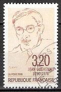 Timbre France Y&T N°2641 (01) Obl. Jean Guéhenno. 3.f. 20. Brun Sur Crème. Cote 0.50 € - Gebraucht