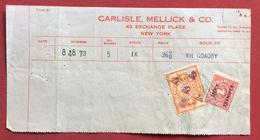 USA N.Y. CARLISLE MELLICK & C. TICKET  CON   REVENUE MARCA DA BOLLO STATE OF NEW YORK 4 + 4  CENT STOCK TRANSFER TAX - Stati Uniti