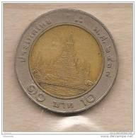Thailandia - Moneta Circolata Da 10 Baht - 1988/2008 - Tailandia