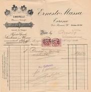 6295. Lp   Fattura Commerciale Ernesto Massa Ombrelli Mazze Ventagli Sartoria Stoffe Confezioni - Torino - 1926 - Italia