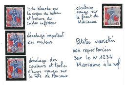 D 234  Variétés Mineures Non Répertoriées Sur La Marianne à La Nef N°1234 Obl - Variétés Et Curiosités