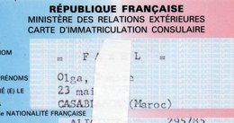 CARTE D'IMMATRICULATION CONSULAIRE  -MINISTERE DES RELATIONS EXTERIEURES 1988 - Sin Clasificación