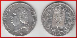 **** 5 FRANCS 1823 A PARIS LOUIS XVIII TETE NUE - ARGENT - SILVER **** EN ACHAT IMMEDIAT !!! - J. 5 Francs