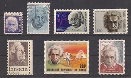 Albert EINSTEIN    7 Timbres Neufs (sauf Suisse)  URSS, USA (2), CONGO, MONACO,SAINT-MARIN, SUISSE