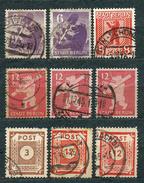 Germany, Soviet Zone 1945, MiNr 2, 3, 5 + 56, 60; Used - Lot Of 9 Stamps - Zone Soviétique