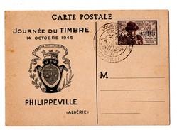 FRANCE ALGERIE . Journée Du Timbre Philippeville . PREMIER JOUR PHILIPPEVILLE LE 10/10/1945 - Réf. N°945 - - Cartes-Maximum