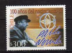 Chile 2004 The 100th Anniversary Of The Birth Of Neftali Ricardo Reyes Basoalto, Pablo Neruda, Writer And Politician.MNH - Chile