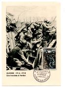 FRANCE .CARTE MAXIMUM . Une Tranchée à Verdun . PREMIER JOUR VERDUN-SUR-MEUSE LE 03/03/1956 - Réf. N°947 - - Maximumkarten