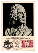 FRANCE .CARTE MAXIMUM . ACADEMIE DES SCIENCES . FONTENELLE 1657 - 1757 . PREMIER JOUR PARIS LE 04/06/1966 - Réf. N°949 - - Cartes-Maximum