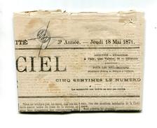 !!! OBLITERATION DE FORTUNE DE LA COMMUNE DE PARIS SUR JOURNAL OFFICIEL DU 18/5/1871 - 1849-1876: Classic Period