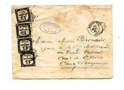 !!! LETTRE TAXEE A 60C AVEC BELLE COMPOSITION DE TAXES CARREES A 15C - Marcophilie (Lettres)