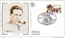 60011e2 - Enveloppe Fdc Soie Belgique - Georges Simenon 1903-1989 - écrivain - FDC