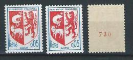 """YT 1468 1468a 1468b """" Armoiries D'Auch """" 1966 Neuf ** Dentelures N° Rouge - France"""