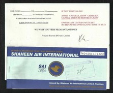 Pakistan Shaheen  Airline Transport Ticket Used Passenger Ticket  5  Scan  With Folder - Titres De Transport
