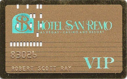 Hotel San Remo Casino - Las Vegas, NV USA - Gold VIP Slot Card - Casino Cards