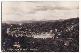 CEYLON SRI LANKA General View Of KANDY And Lake, C1930s Vintage Real Photo Postcard RPPC - CEYLAN - Sri Lanka (Ceylon)