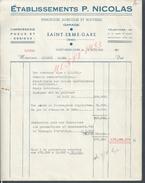 FACTURE DE 1943 ETABLISSEMENTS P. NICOLAS GARAGE REMORQUE AGRICOLES & ROUTIERES À SAINT ERME GARE : - Automobile