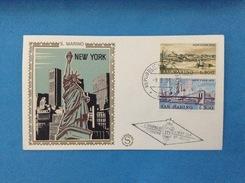 1973 Vedute Di New York San Marino Busta Primo Giorno Fdc Filagrano Gold First Day Cover - FDC
